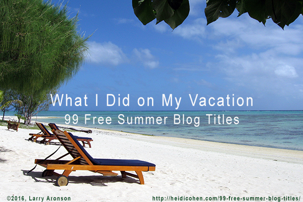 What I Did On My Vacation 99 Free Summer Blog Titles Heidi Cohen