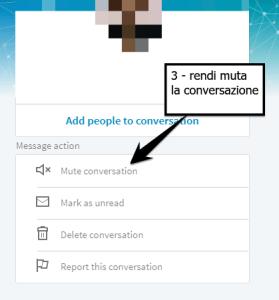 rendere muta una conversazione LinkedIn