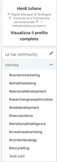 dove trovare gli Hashtag su Linkedin