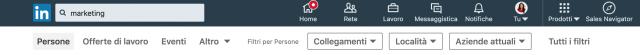 barra di ricerca di Linkedin