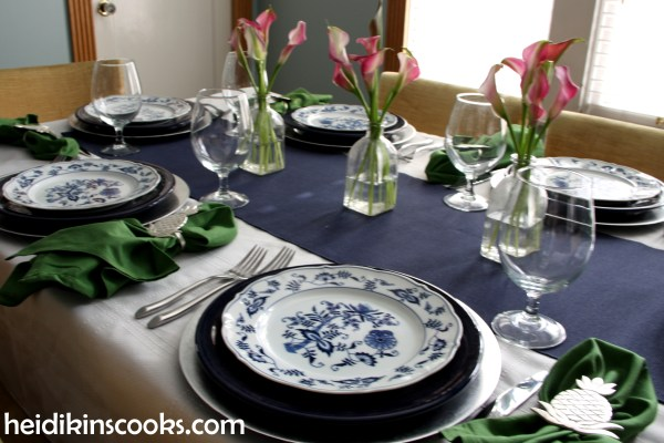 Navy Blue and White Table Setting