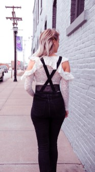 White Lace and Black Overalls Outfit