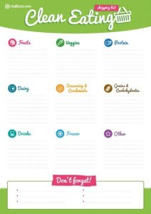 clean eating food list printable