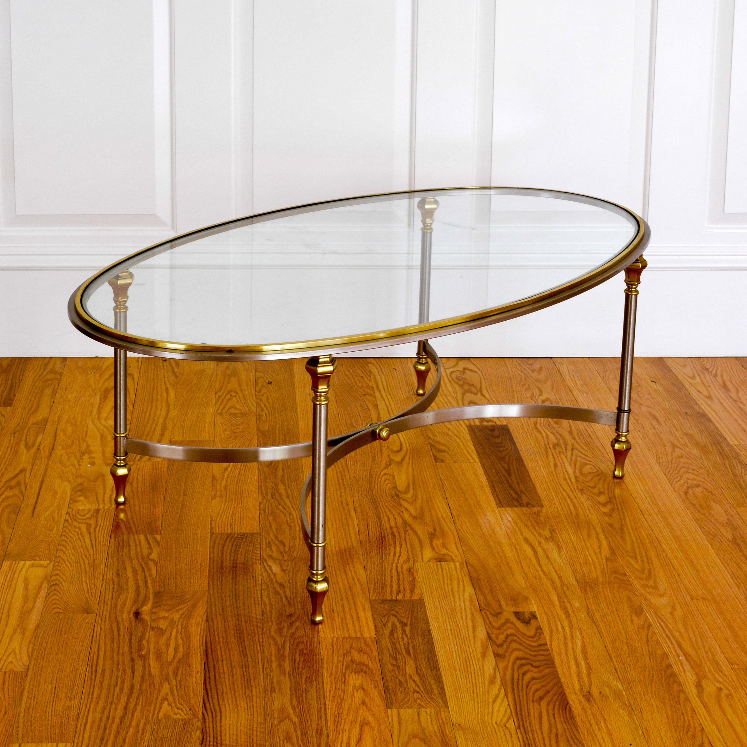 Lot 1230_vintage Silver And Gold Tone Oval Glass Top Coffee Table