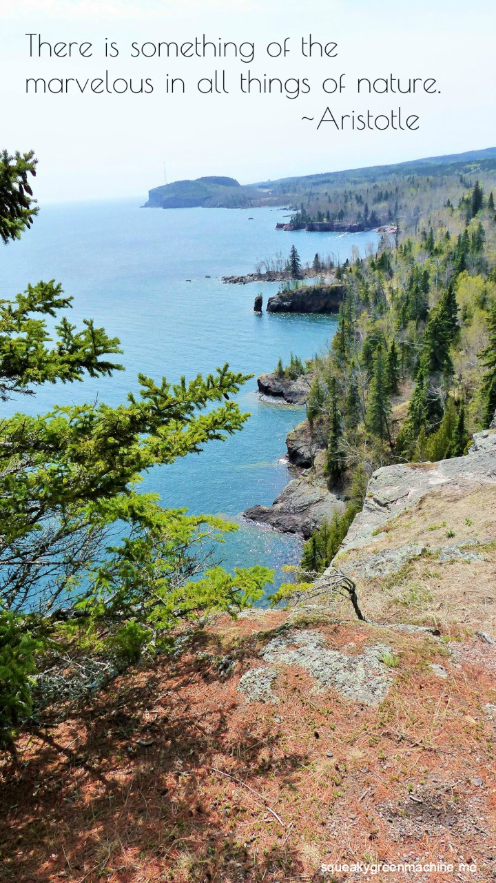 """the minnesota north shore shoreline with the quote """"There is something of the marvelous in all things of nature. """" Aristotle"""