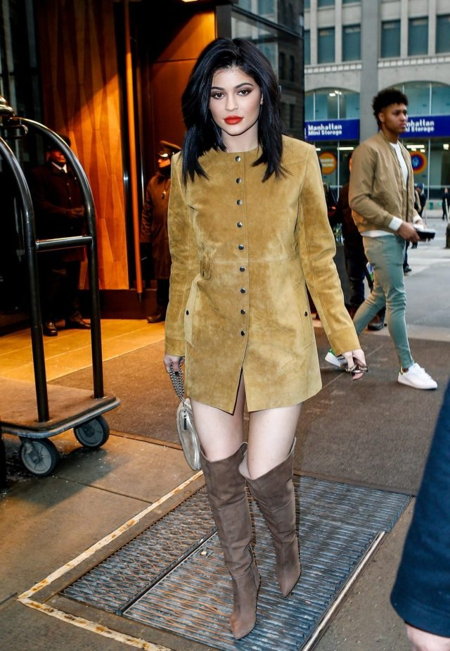 Kylie Jenner's outfits suede