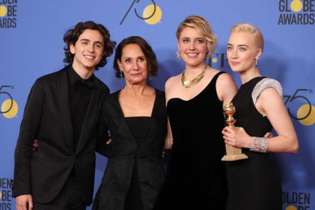 Timothée Chalamet with his Lady Bird Costars and Director at the 2018 Golden Globes