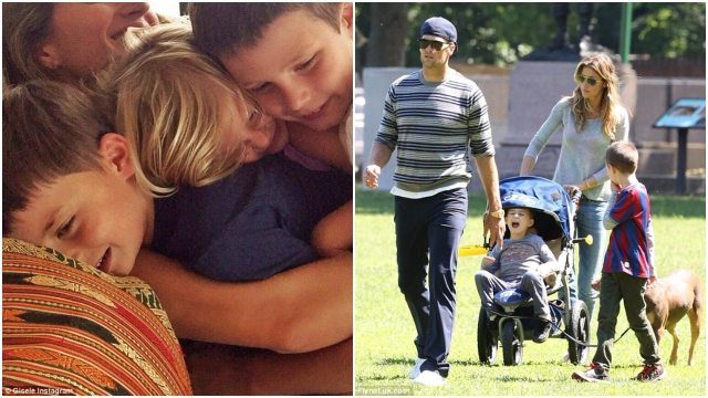 (left) Gisele hugging her kids including the bonus, Jack (right) Brady and Gisele taking their sons for a stroll