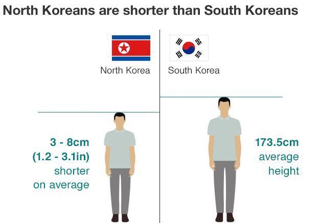 North Korea and South Korea Height