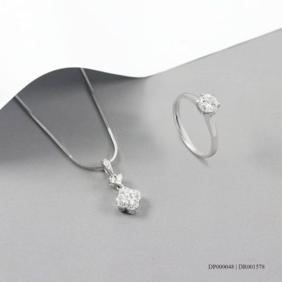 Online shop Penyedia 1 Set Perhiasan Emas Putih untuk Pernikahan