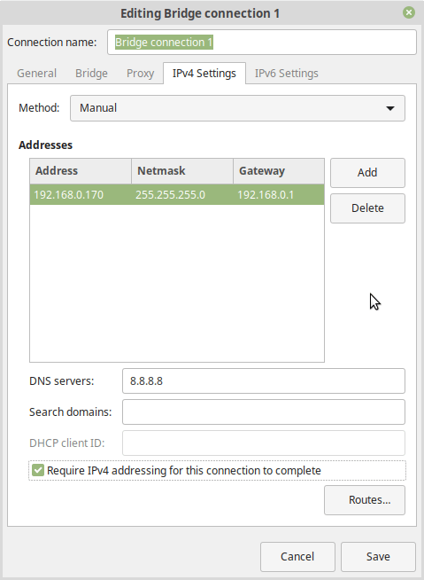 manual IPv4 settings