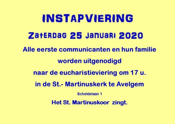 uitnodiging 2de instapviering 1°Communie 25 jan 2020