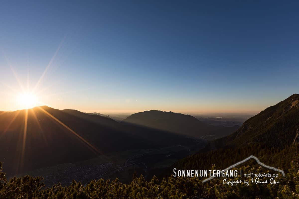 Sonnenuntergang in der Bergen