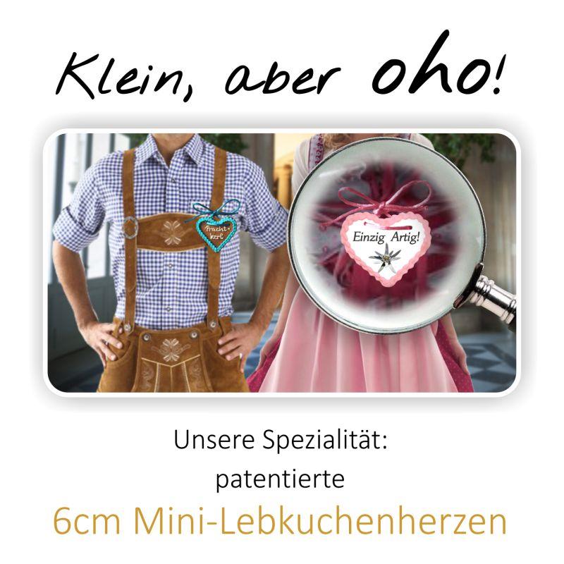 Klein, aber oho! Unsere Spezialität: patentierte 6cm Mini-Lebkuchenherzen
