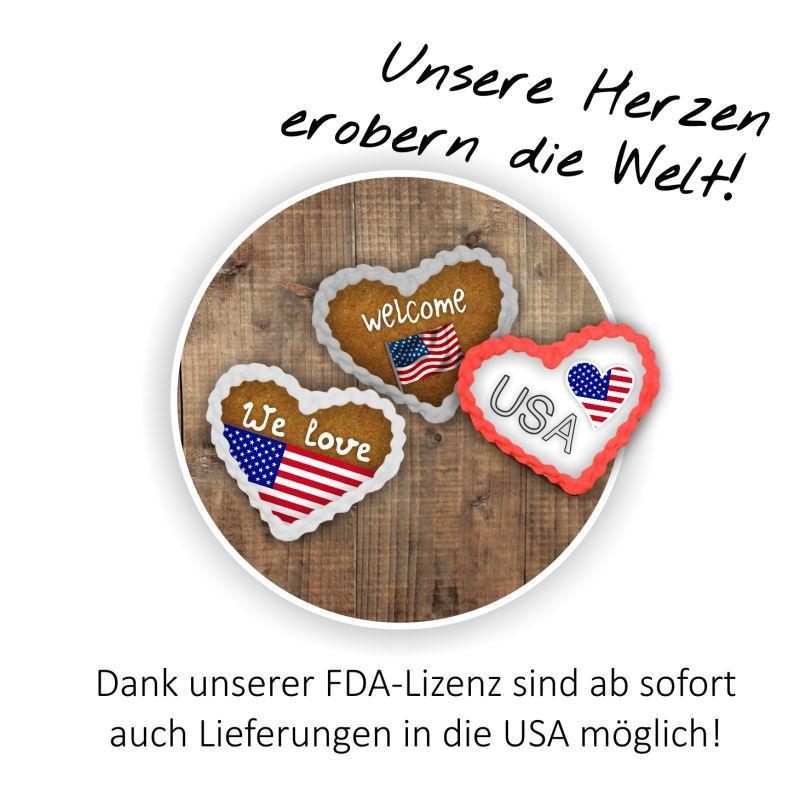 Unsere Herzen erobern die Welt! Dank unser FDA-Lizenz sind ab sofort auch Lieferungen in die USA möglich!