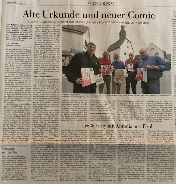 Artikel aus der Taunuszeitung (fnp) vom 11.05.2019