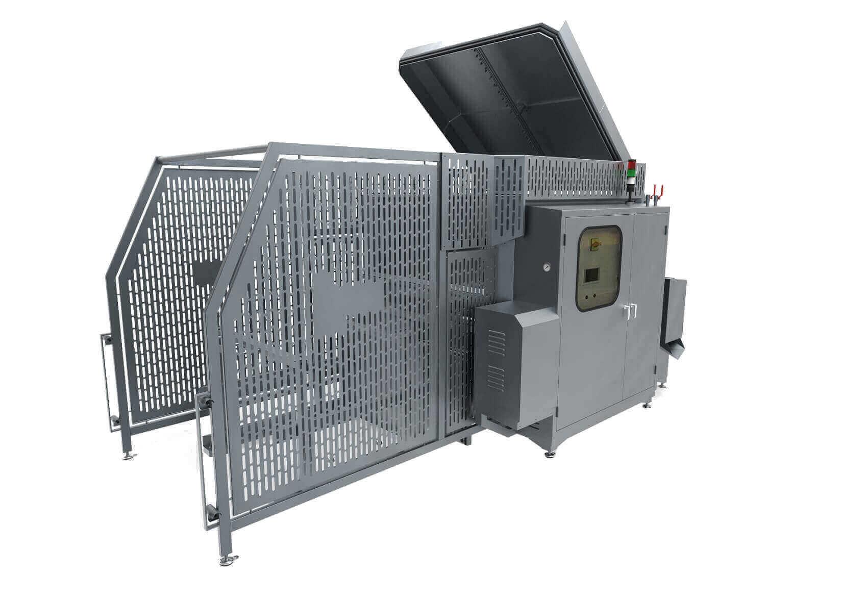 Industriewaschanlage für Eimer, Kisten und Paletten in Lebensmittelbetrieb