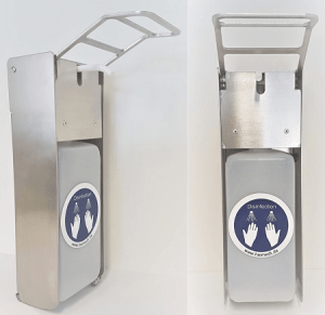 Disinfectant dispenser made of aluminum or stainless steel