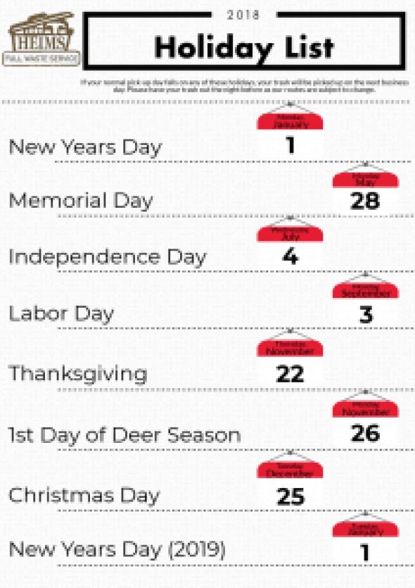 2018 Holiday List
