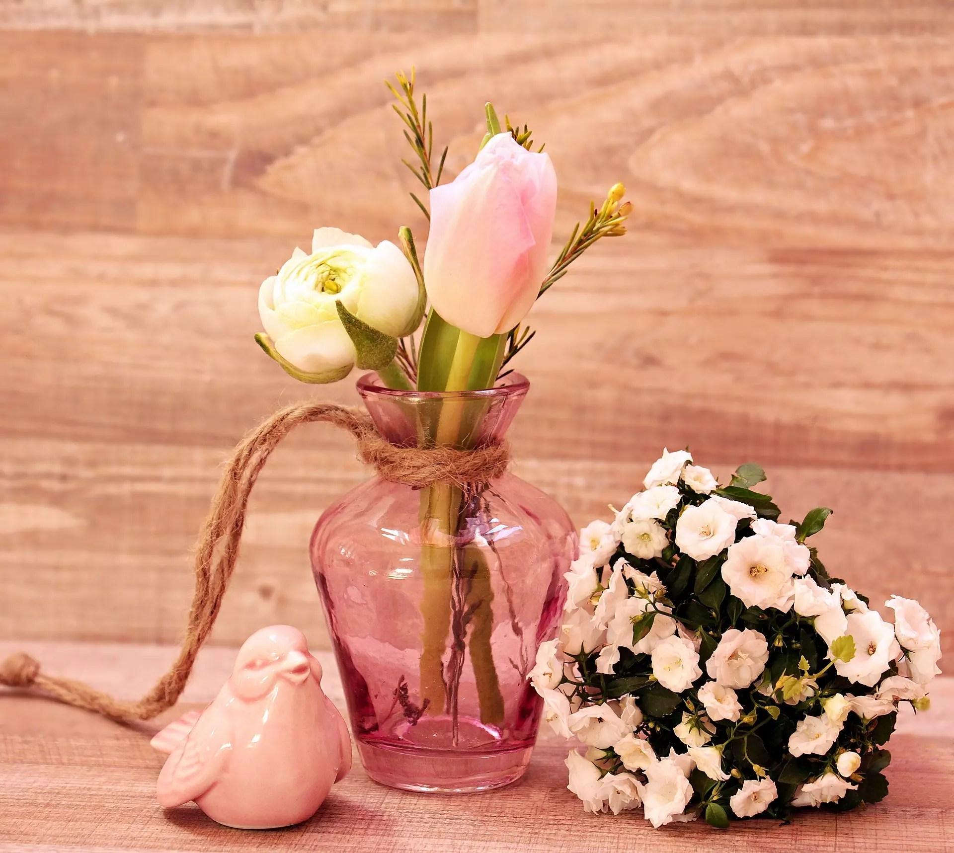 Tischdeko Hochzeit Grun Rosa