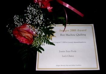 machine quilting award Joanie