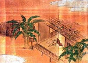 庭に芭蕉が植えられた芭蕉庵『芭蕉翁絵詞伝』