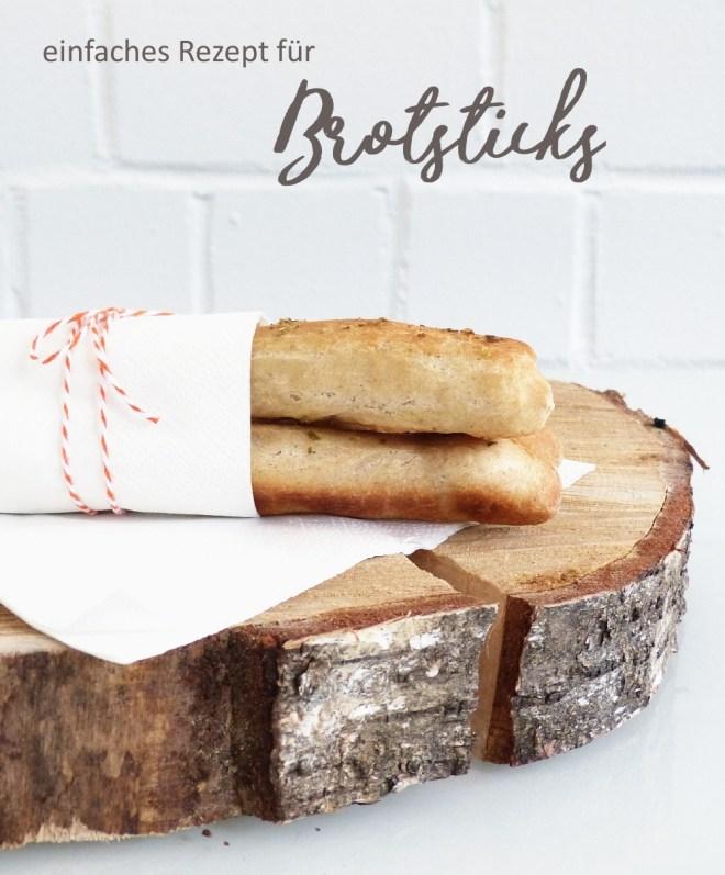 Drei Brotsticks mit Bäckergarn und Titel