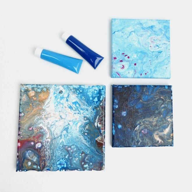 acrylic pouring - Acrylfarbe auf Leinwand giessen