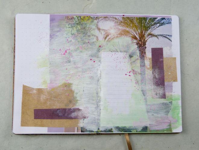 Collage im Art Journal mit Acrylfarbe