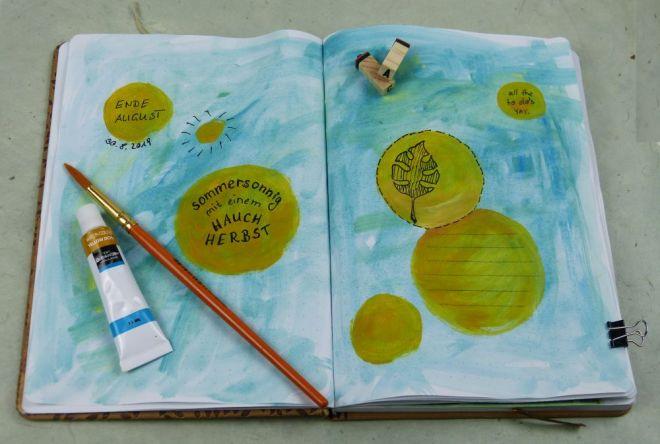 Art Journal Idee Spotlights mit Wasserfarbe und Fineliner