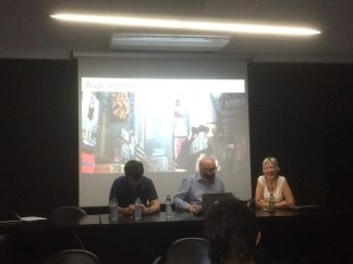 2015. At the Augmented Aesthetics panel, PLUNC festival. With Sally-Jane Norman and Alex Rothera.