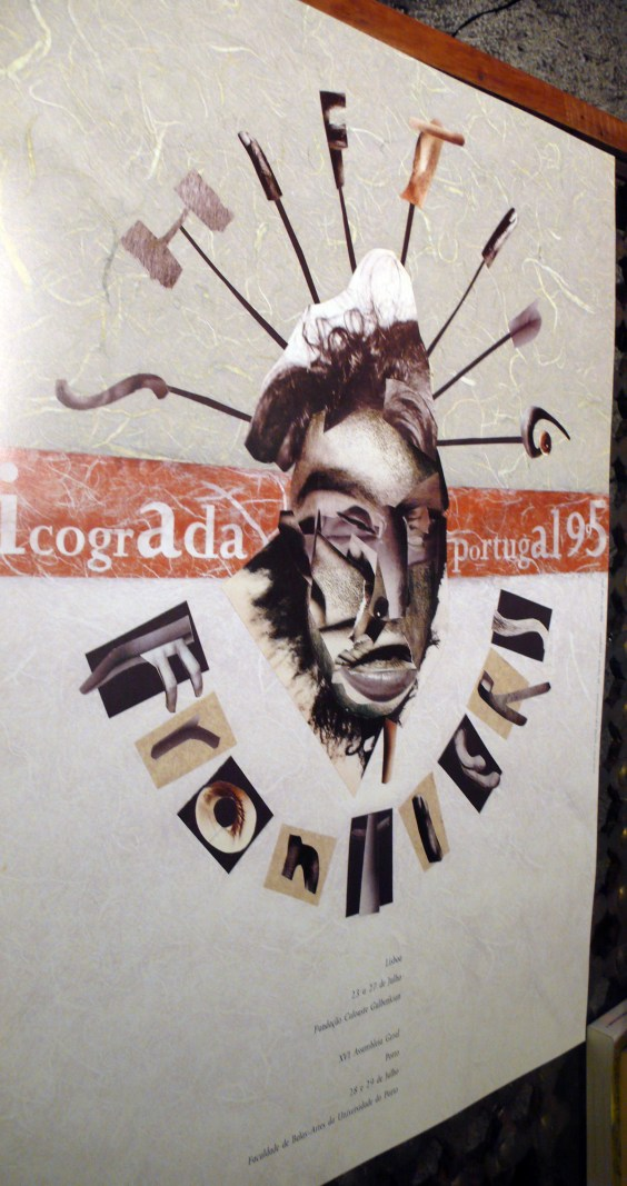 "Poster for Icograda World Conference 1995. The full-size original collage was ""lost"" during printing at Orgal, Porto."