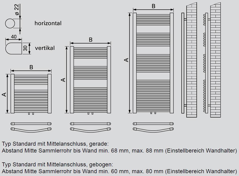 Viessmann Badheizkrper Mittelanschluss gerade 1726x500x30
