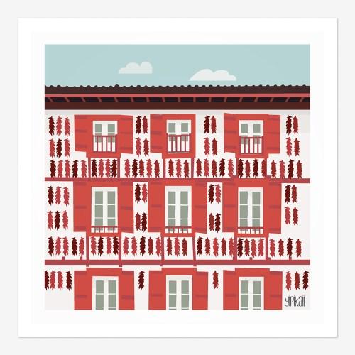 Affiche Maison Basque à Espelette, rouge et blanche avec piments suspendus