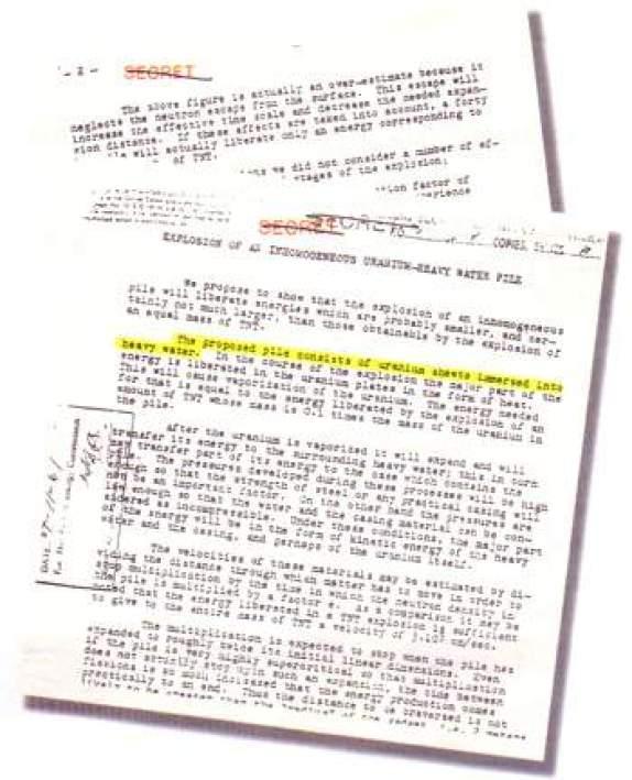 مذكرة كتبها بيته وتيلّر تناقش إمكانيات انفجار مفاعل نووي كان بور قد وصفه لهما عند مجيئه إلى لوس ألاموس. وعلى الرغم من أن اسم هيزنبرگ لا يظهر في هذه الوثيقة، فإن التصميم الذي تمت دراسته فيها يماثل تماما المفاعل الذي اخترعه الألمان عام 1939 والذي أيدوا فكرته طوال فترة الحرب.