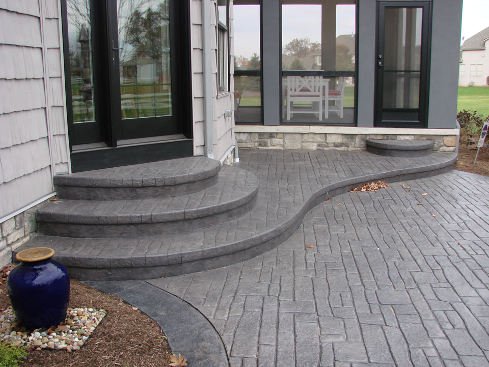 patio stamped concrete overlay patio