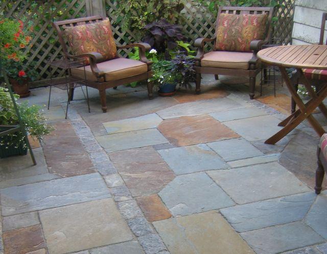 blue flagstone patio design ideas for