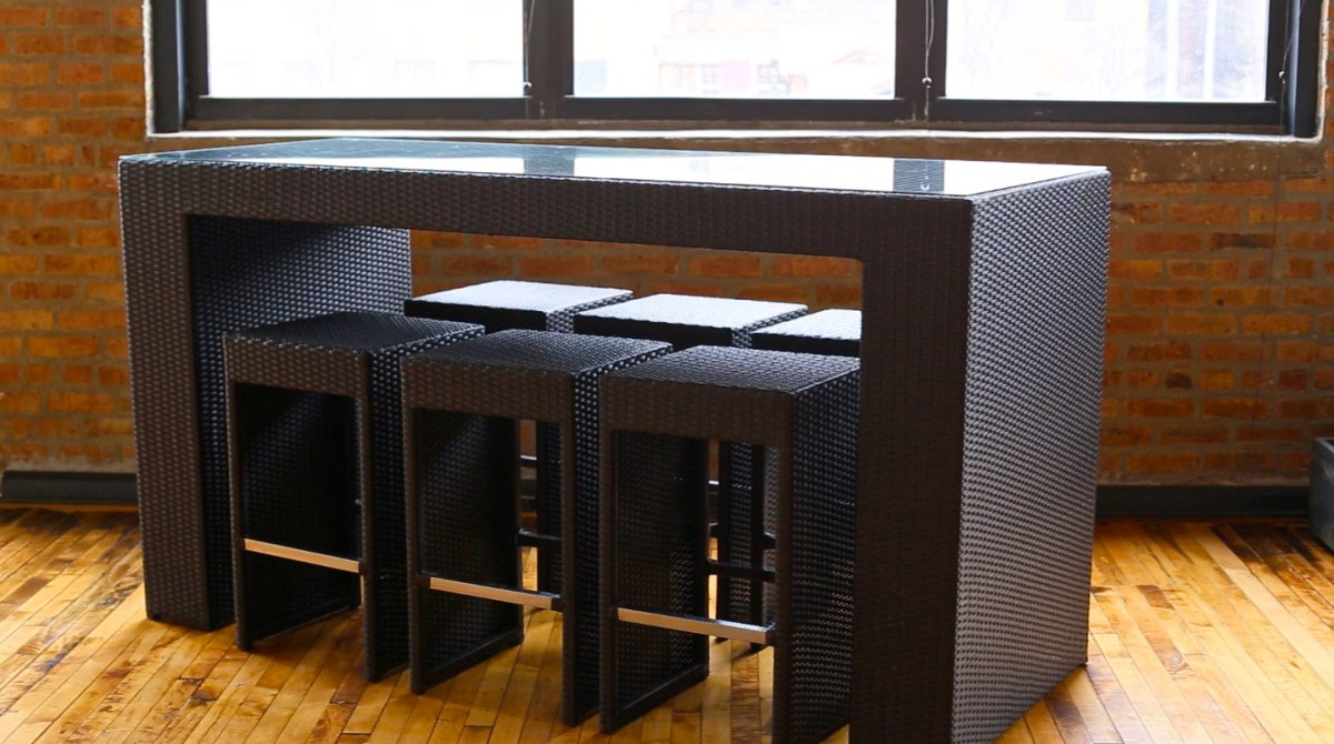 Amazing High Top Outdoor Patio Furniture And High Top Bar Table With Clear Tempered Glass Top