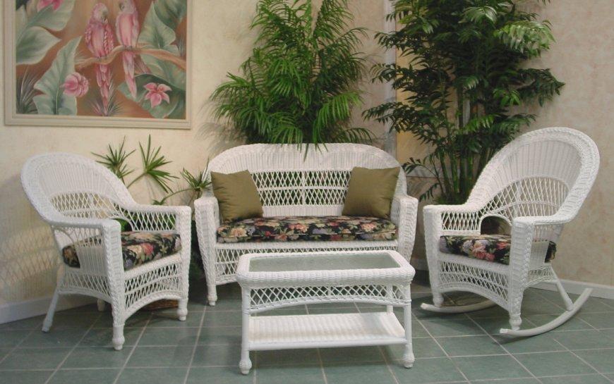 Muebles De Rattan Blancos Novocom Top, Indoor Wicker Furniture Clearance