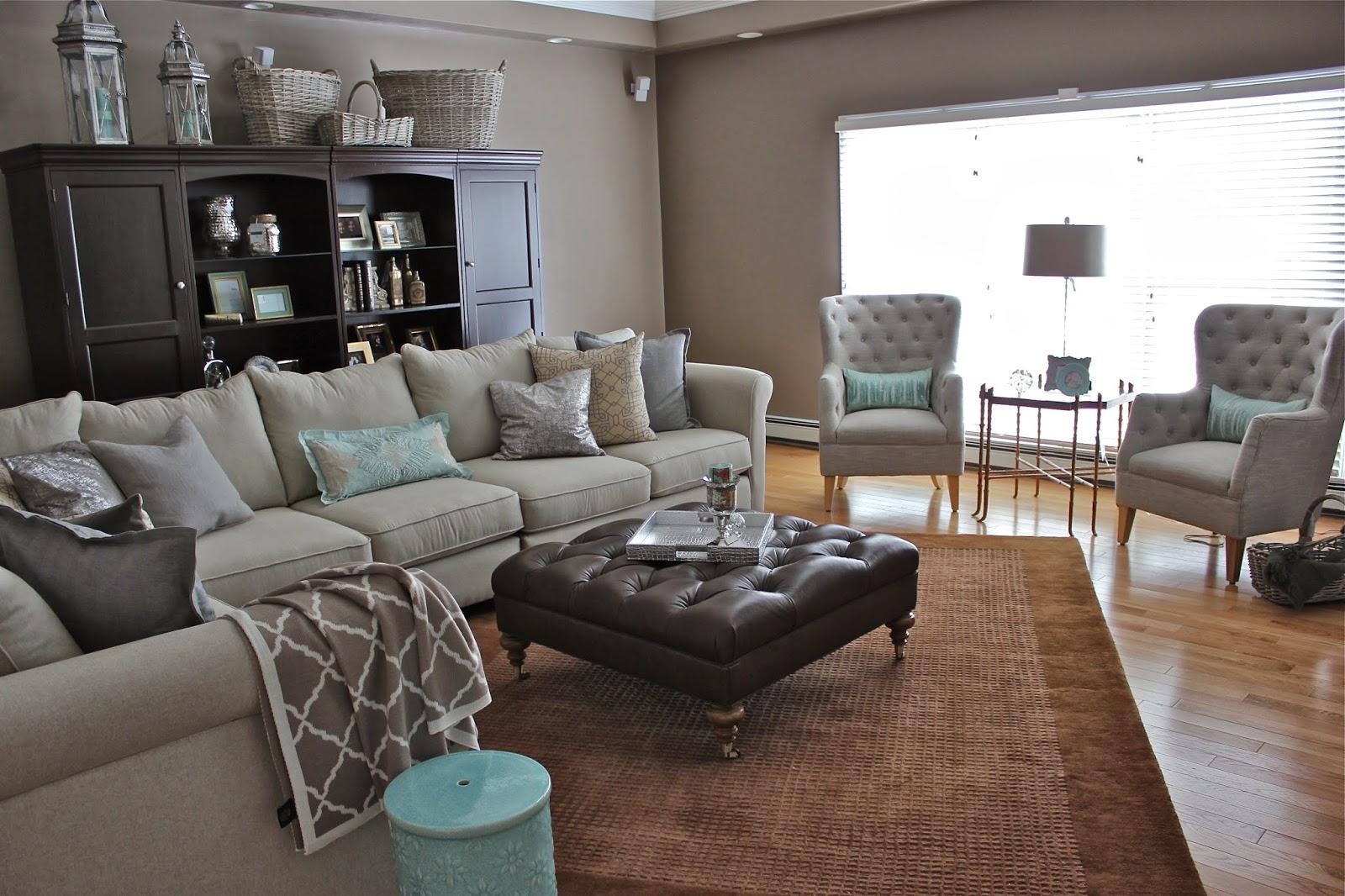 grey sofa brown carpet
