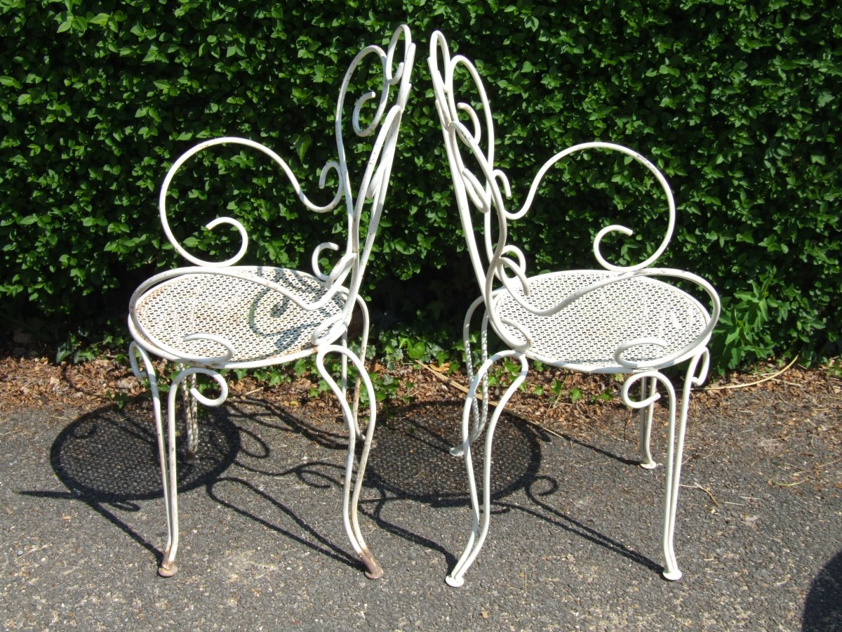 Vintage Patio Chair And Antique Wrought Iron