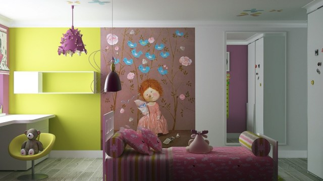 Girly Bedroom Ideas Stylized Bedroom Design Ideas For Girls With Brilliant Pendant Lamp Design Also Awesome Modern Wall Paint Cartoon Motif Of Children Decor X Helda Site Furnitures Home Design