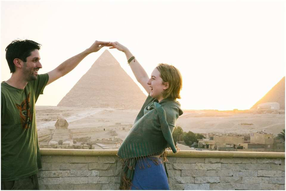 Newlywed Couple Dancing at Pyramids of Giza in Cairo Egypt Sphinx