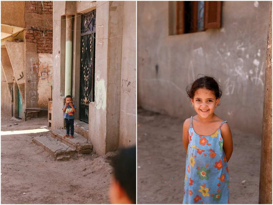little girl and boy in small village of Egypt, photographed by Helena Woods