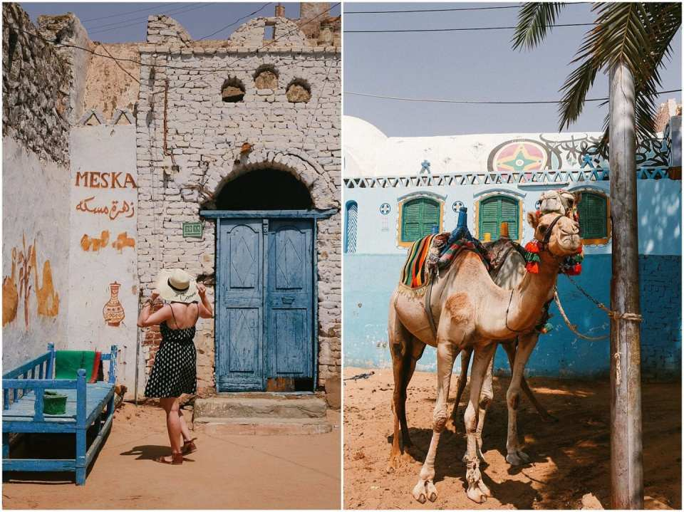 Girl with camel at Nubian village in Aswan Egypt