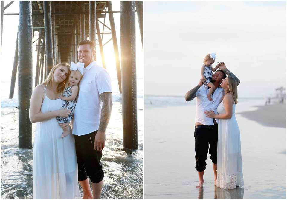 Beach Family Photos with Baby Golden Hour sunset light Pier