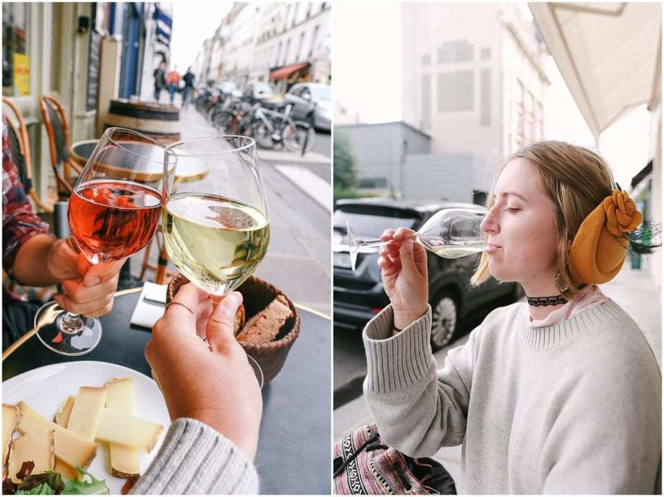 Photographer and blogger, Helena Woods at a cafe in Paris drinking wine