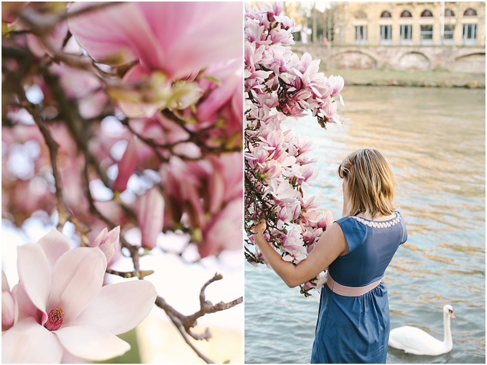 Helena Woods with spring cherry blossoms in Strasbourg France