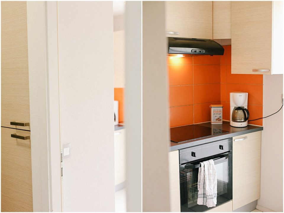 Disguised French refrigerator on the left, stove on the right