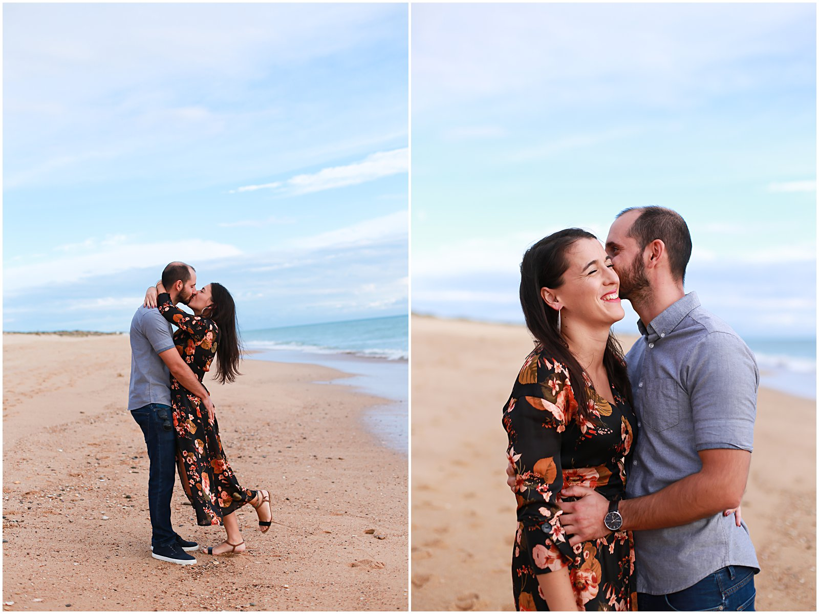 couple kissing and photographed in Portugal with photographer Helena Woods